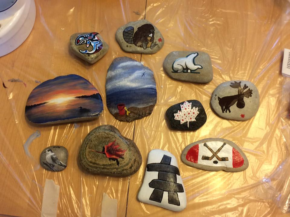 Photo of eleven painted rocks for Hastings Rocks Canada Day event. Photo courtesy Purple Door Creative