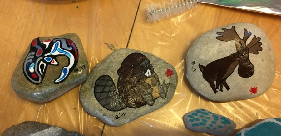 Photo of three Canada-themed rocks Haida whale, beaver and moose rocks for the Hastings Rocks event. Photo courtesy Purple Door Creative