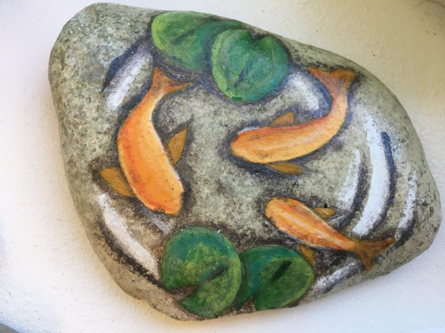 Photo of goldfish painted on rock. Photo courtesy Random Acts of Creativity