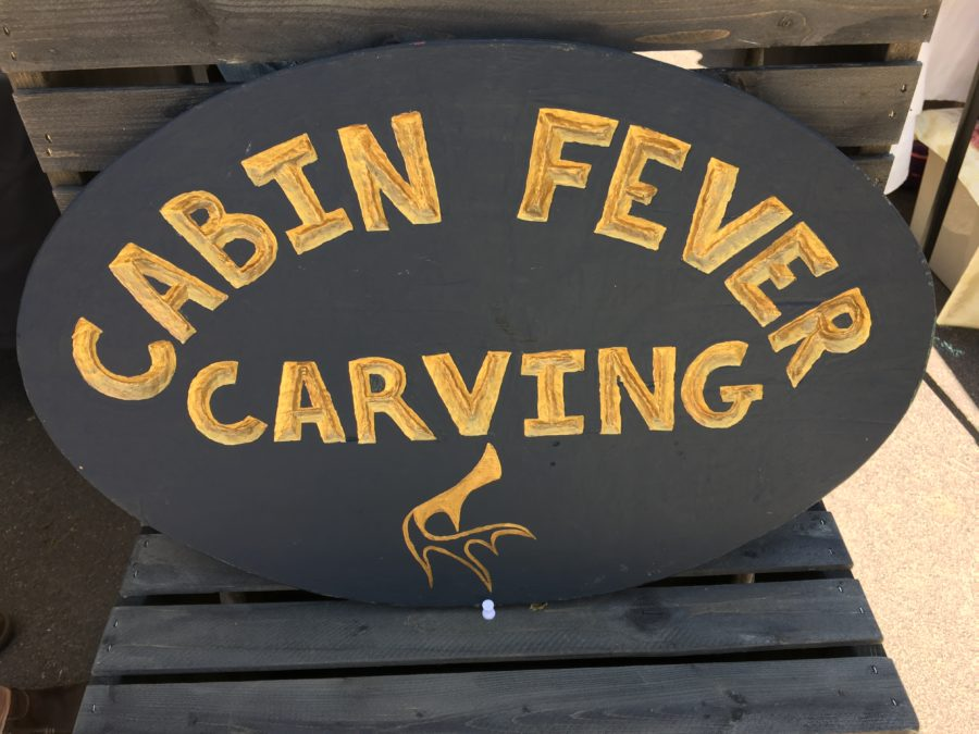 Photo of Cabin Fever Carving sign courtesy Random Acts of Creativity