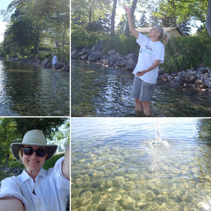 Layout photo of throwing rocks and taking a selfie. Photos courtesy Purple Door Creative